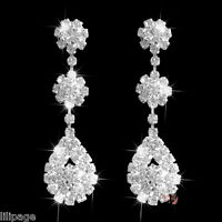 Non-Pierced Flower/Tear Drop Crystal Rhinestone Diamante Clip-On Dangle Earrings