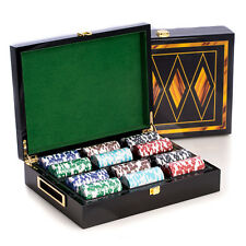 GAMES - POKER SET IN INLAID WOOD BOX WITH 300 CHIPS - 2 CARD DECKS - 5 DICE