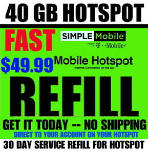 $49.99 SIMPLE MOBILE 40GB HOTSPOT REFILL⭐ FAST --> DIRECT ⭐ TRUSTED USA SELLER ⭐