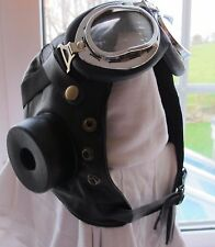 Biggles Leather Flying Helmet *INC GOGGLES*WW2 style Leather Bomber Aviator hat.