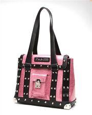 Lux de ville Mini Weekender Bag Black Matte and Pink Bubbly Sparkle Studs Purse