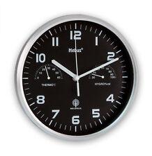 Mebus Wanduhr Funk mit Hygrometer Thermometer Büro Küchen Uhr Flur Modern Silber