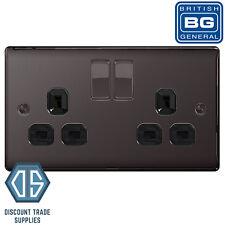 BG Metal Black Nickel Switched Socket 13a 2 Gang
