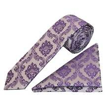 Purple Paisley Skinny Boys Tie and Handkerchief Set Childrens Tie Kids Tie