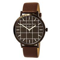 Christian Paul Men's Watch Grid Quartz Black Dial Brown Leather Strap GR-02