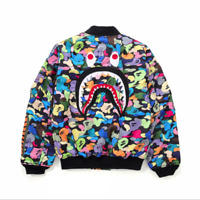 ##NEW Men's A Bathing Ape Shark Jaw Coat Tops Bape Outwear Flight Bomber Jacket
