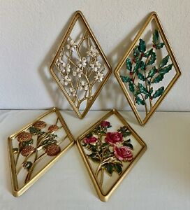 4 Vintage Syroco Diamond Gold Finish Wall Plaques Roses Mums Holly Dogwood Set