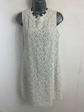 WOMENS  OASIS WHITE SMART/CASUAL LACE OVERLAY SLEEVELESS SHIFT DRESS SIZE 10