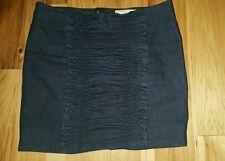 Leifsdottir Gathered Smocked Ruffled Front Back Stretch skirt sz. 12 Dark Denim