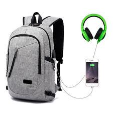 Anti-theft Lock Mens Womens Laptop Backpack+USB Charging Headset Port School Bag