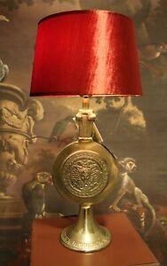Classy Colmore Lamp Aluminium Gold Medusa Lampshade Red Velour 60cm New