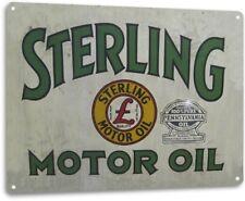 Sterling Motor Oil Garage Auto Shop Gas Retro Logo Bar Wall Decor Metal Tin Sign