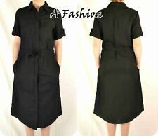 NEXT NEW TAGGED BLACK LINEN BELTED MIDI DRESS 198 UK 6-18