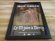 IRON MAIDEN - Concert Bercy - PUB ORIGINALE ENCADREE !! ORIG ADVERT FRAMED