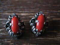 prächtige Trachten Dirndl Ohrringe Clips Ohrclips 835er Silber Rote Koralle