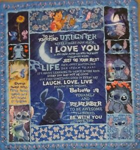 """NEW Lilo & Stitch Quilt Blanket """"To Daughter...Love Dad"""" Size Twin"""
