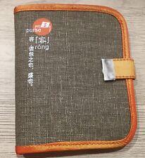 porte Cartes Papiers homme femme Tissu en lin et soie Orange