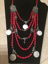 Authentic Coral Necklace Handmade With Silver Coins With Yadviga