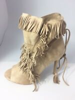Womens Ladies Beige Faux Suede High Heel Fringe Tie Up Party Shoes Size UK 8 New