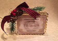 HANDMADE HOGWARTS EXPRESS TICKET CHRISTMAS ORNAMENT FOR HARRY POTTER FANS GIFT