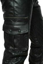 Men's Real Leather Cargo Quilted Panel Pants Gay Interest BLUF Trouser Jeans