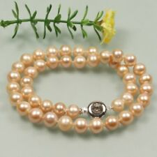 """HOT Fashion Genuine AA 8-9mm Pink round Cultured freshwater pearl Necklace 17"""""""