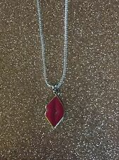 """New COACH Pink Lips Pendant Necklace On 18"""" Silver Chain"""