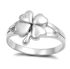 Lucky Four-Leaf Clover Ring with CZ Sterling Silver Rhodium Plated Size 6