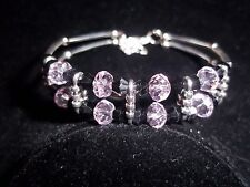 Hot Tibet Silver Fashion Jewelry Light Pink  & Black Crystal Bead Bracelet B-60