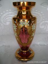 "CZECH BOHEMIAN MADESK GOLD HIGH ENAMEL RUBY RED CRYSTAL GLASS VASE 12.5"" NIB #1"