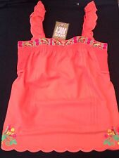 NWT Juicy Couture New Genuine Ladies Small Orange 100% Cotton Peasant Top UK 10