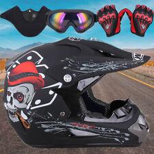 Dot Motocross Helmet Dirt Bike Offroad Atv Snowmobile Utv / Goggles Gloves Mask