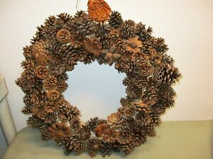 """20"""" Real Pinecone Wreath Hand Made Brown Large Autumn"""