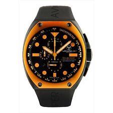 NEW Avio Milano AVI Men's Super Chronograph Tonneau Aluminum Black/Orange Watch