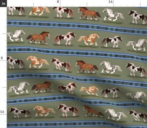 Horse Stripe Horses Pony Stripes Spoonflower Fabric by the Yard