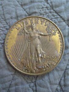 "1908 Liberty Double Eagle 3"" Brass Twenty Dollar Coin/paperweight/souvenir"