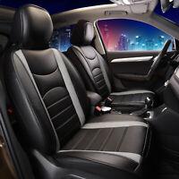 Leatherette Cushion Pad Seat Covers Full Set For Auto Car SUV Van Gray Black