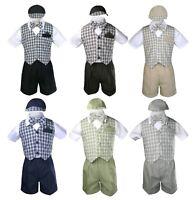 Baby Boy Toddler Wedding Checker Gingham Black Khaki Navy Formal Short Suit S-4T