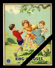 """Vintage Fabric Label: Original lithograph - Ring O Roses 5-1/4"""" x 6-5/8"""""""