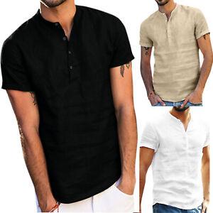 Herren Sommer Freizeit Hemden Kurzarm T-Shirt V-Ausschnitt Hemd Bluse Oberteil