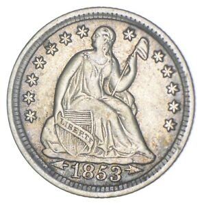 5c **1/2 Dime HALF** 1853 Seated Liberty Half Dime Early American Type Coin *312