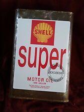 "SHELL SUPER MOTOR OIL 1 GALLON CAN Sticker / Decal LABEL 8"" X 6"" (20CM X 15CM)"