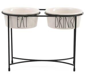 "Rae Dunn | EAT & DRINK | WHITE 6"" Dog Bowls 12"" Raised Pet Feeder - By Magenta"