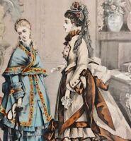 """Mathilde Haupt - Mode-Lithographie 1873: """"DIE MODENWELT"""" Illustrirte Zeitung für"""