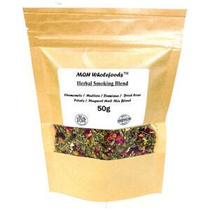 50g Mix Blend Tea Smoking Chamomile, Mullein, Damiana, Rose Petals, Mugwort Herb