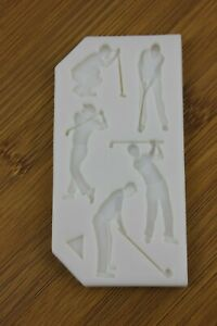 Golfer Silicone mould  Icing Cake Fondant Golf clubs