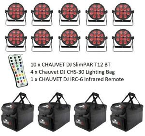 10x Chauvet DJ SlimPAR T12 BT LED RGB Bluetooth Uplight with Carry Bags and IRC