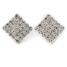 Tono Plata nupcial allanar conjunto pendientes con Cuadrado De Cristal Claro - 20mm L
