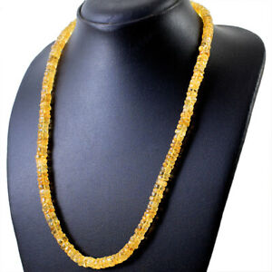 235.00 Cts Natural Yellow Citrine Round Shape Untreated Beads Necklace NK 11E124