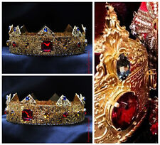 GOLD Dolce Male Crown For Royal King Royal Red Blue Topaz Crowns  Men Medieval